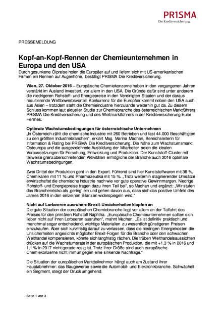 Prisma Die Kreditversicherung: Kopf-an-Kopf-Rennen der Chemieunternehmen in Europa und den USA, Seite 1/3, komplettes Dokument unter http://boerse-social.com/static/uploads/file_1941_prisma_die_kreditversicherung_kopf-an-kopf-rennen_der_chemieunternehmen_in_europa_und_den_usa.pdf (27.10.2016)
