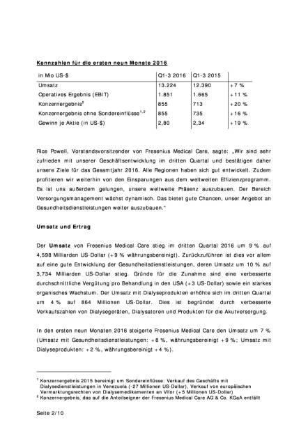 Fresenius Medical Care: starke Geschäftsentwicklung im dritten Quartal 2016, Seite 2/10, komplettes Dokument unter http://boerse-social.com/static/uploads/file_1944_fresenius_medical_care_starke_geschaftsentwicklung_im_dritten_quartal_2016.pdf (27.10.2016)
