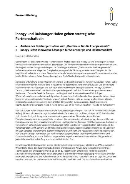innogy und Duisburger Hafen: strategische Partnerschaft, Seite 1/2, komplettes Dokument unter http://boerse-social.com/static/uploads/file_1945_innogy_und_duisburger_hafen_strategische_partnerschaft.pdf (27.10.2016)