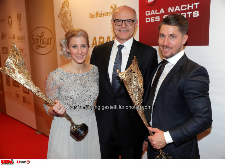 Eva-Maria Brem (AUT), president Karl Stoss (OEOC) and Marcel Hirscher (AUT) Photo: GEPA pictures/ Walter Luger