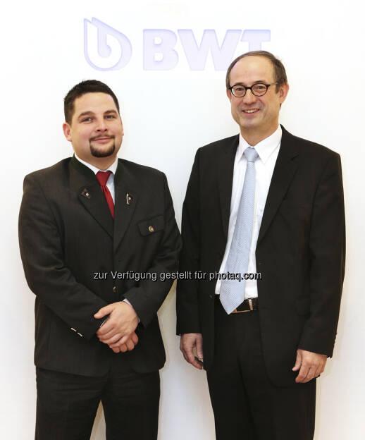 Mit Wirkung 30. April 2013 nimmt die BWT Pool & Water Technology GmbH ihre Geschäftstätigkeit als Wassertechnologieanbieter für Pools und Wellness mit rund 150 Pool-Spezialisten in Österreich auf. Die Gesellschaft unter der Leitung von Stefan Ettinger und Hannes Laimer ist ein 100-prozentiges Tochterunternehmen der BWT AG (c) Aussendung  (02.05.2013)