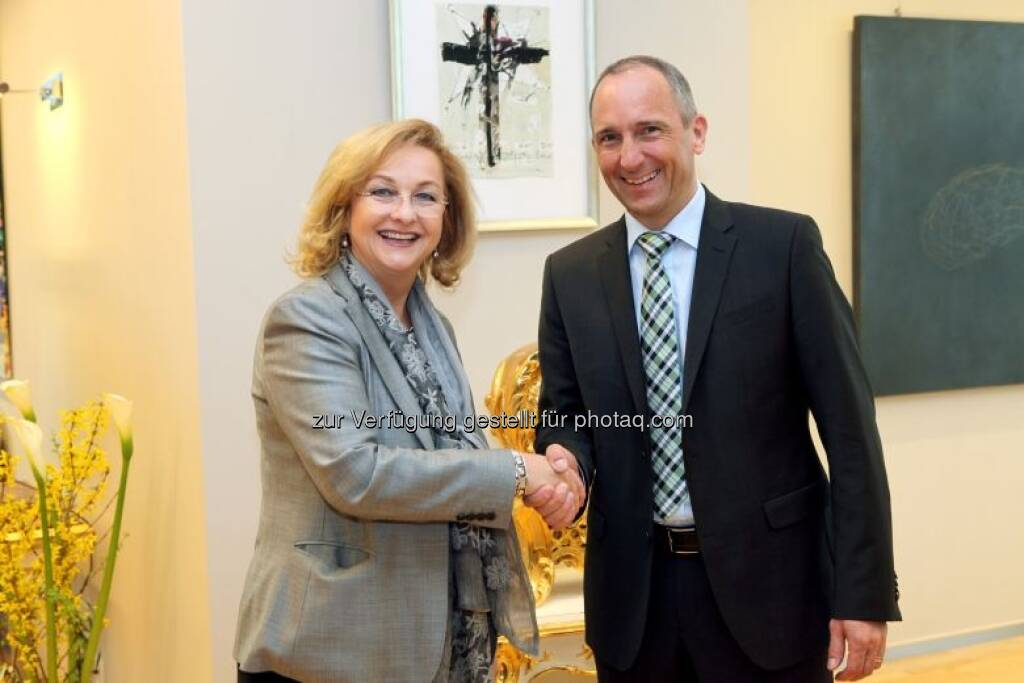 Maria Fekter mit Regierungschef Adrian Hasler (Liechtenstein), © BMF (02.05.2013)