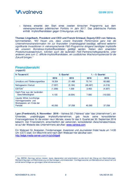 Valneva erhöht Finanzausblick für das Gesamtjahr 2016, Seite 2/11, komplettes Dokument unter http://boerse-social.com/static/uploads/file_1964_valneva_erhoht_finanzausblick_fur_das_gesamtjahr_2016.pdf (09.11.2016)