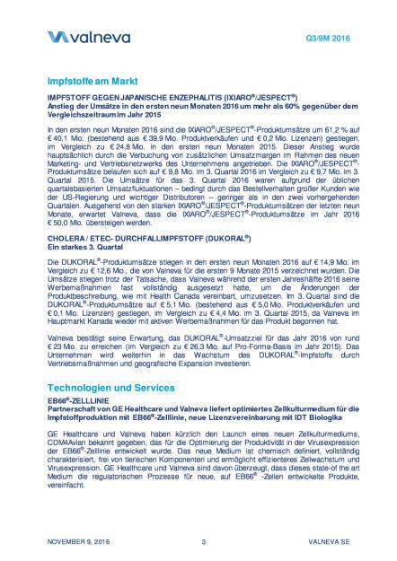 Valneva erhöht Finanzausblick für das Gesamtjahr 2016, Seite 3/11, komplettes Dokument unter http://boerse-social.com/static/uploads/file_1964_valneva_erhoht_finanzausblick_fur_das_gesamtjahr_2016.pdf (09.11.2016)