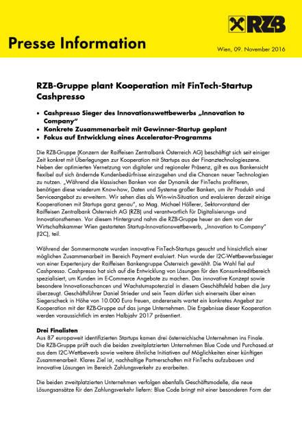 RZB-Gruppe plant Kooperation mit FinTech-Startup Cashpresso , Seite 1/2, komplettes Dokument unter http://boerse-social.com/static/uploads/file_1966_rzb-gruppe_plant_kooperation_mit_fintech-startup_cashpresso.pdf (09.11.2016)