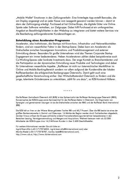 RZB-Gruppe plant Kooperation mit FinTech-Startup Cashpresso , Seite 2/2, komplettes Dokument unter http://boerse-social.com/static/uploads/file_1966_rzb-gruppe_plant_kooperation_mit_fintech-startup_cashpresso.pdf (09.11.2016)