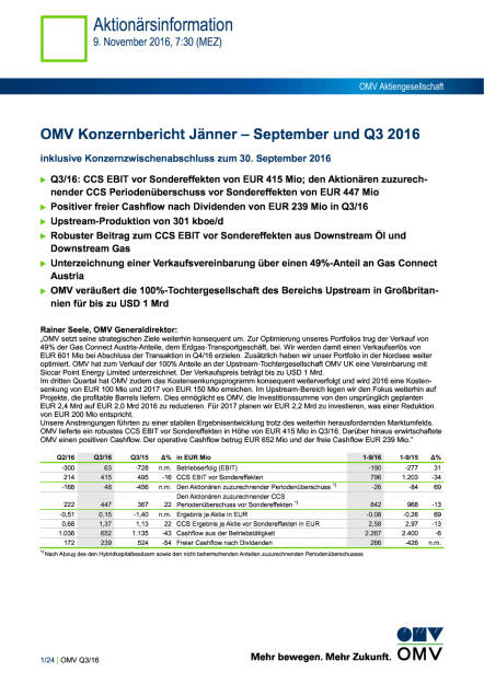 OMV Konzernbericht Jänner – September und Q3 2016, Seite 1/24, komplettes Dokument unter http://boerse-social.com/static/uploads/file_1965_omv_konzernbericht_janner_september_und_q3_2016.pdf (09.11.2016)