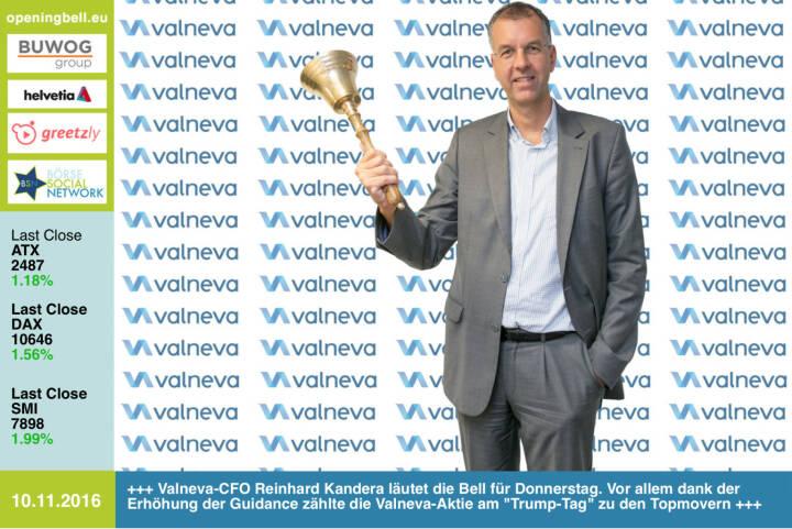 #openingbell am 10.11.: Valneva-CFO Reinhard Kandera läutet die Opening Bell für Donnerstag. Vor allem dank der Erhöhung der Guidance zählte die Valneva-Aktie am Trump-Tag  zu den Topmovern http://www.valneva.com http://www.openingbell.eu