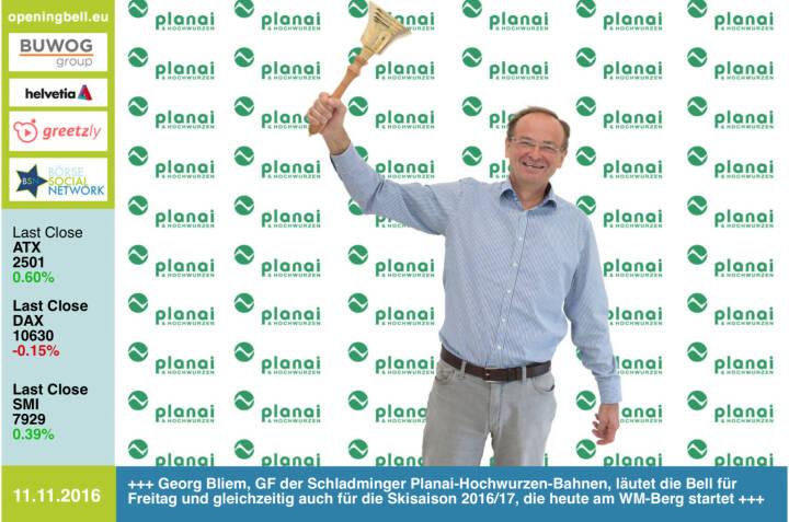 #openingbell am 11.11.: Georg Bliem, GF der Schladminger Planai-Hochwurzen-Bahnen, läutet die Bell für Freitag und gleichzeitig auch für die Skisaison 2016/17, die heute am WM-Berg startet  http://www.planai.at/de https://twitter.com/sowwg2017 http://www.openingbell.eu