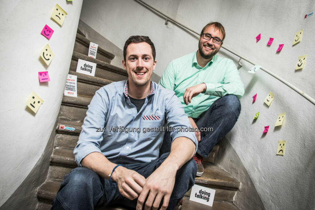 """Klaus Schwarzenberger, Mitgründer und CTO, und Marc Stockdorn, Mitgründer und CEO: MCI Management Center Innsbruck: MCI-Spin off """"ExperienceFellow"""" goes """"More than Metrics"""" (C) Bause, © Aussender (14.11.2016)"""