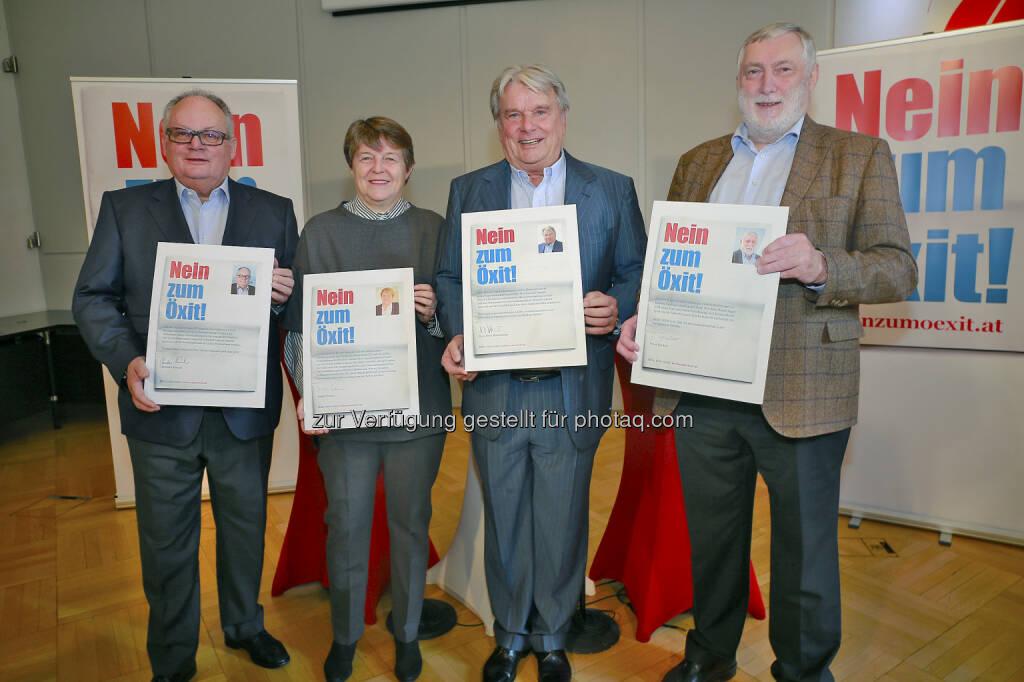 """Christian Konrad, Brigitte Ederer, Hans Peter Haselsteiner, Franz Fischler - Kampagne """"Nein zum Öxit"""": Nein zum Öxit. Nein zu Hofer. (Fotograf: Günther Langegger), © Aussender (14.11.2016)"""