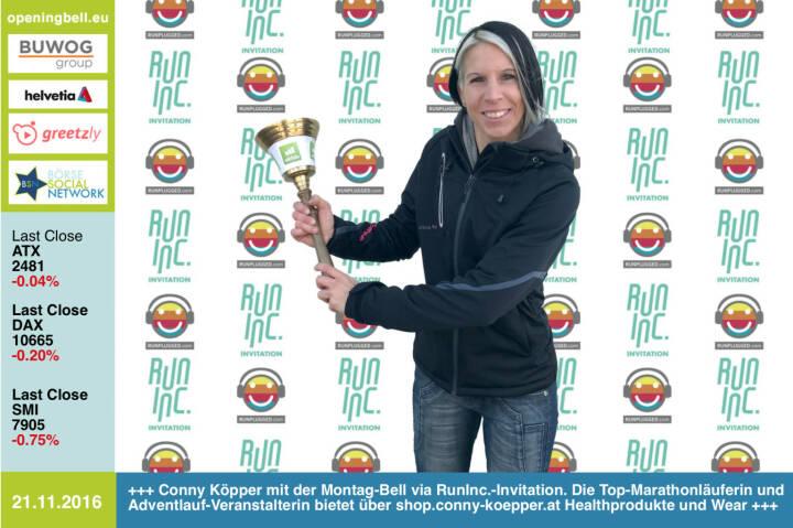 #openingbell am 21.11.: Conny Köpper mit der Opening Bell für Montag via RunInc.-Invitation. Die Top-Marathonläuferin und Adventlauf-Veranstalterin (gestern http://www.ltv-fischatal.com/2-schwadorfer-adventlauf  , siehe http://runplugged.com/2016/11/20/unser_firmenmeister_2016_heisst_michi_plos_christian_drastil  ) bietet über http://www.shop.conny-koepper.at Healthprodukte und und eine eigene Wear-Linie an http://www.openingbell.eu https://www.facebook.com/groups/Sportsblogged http://www.runinc.at http://www.runplugged.com
