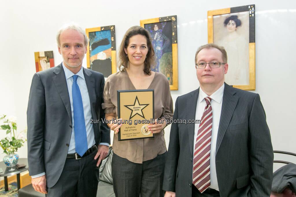 Christian Drastil (BSN), Christine Reitsamer (übernahm für die Baader Bank), Gregor Rosinger (Rosinger Group), © Martina Draper/photaq (27.11.2016)