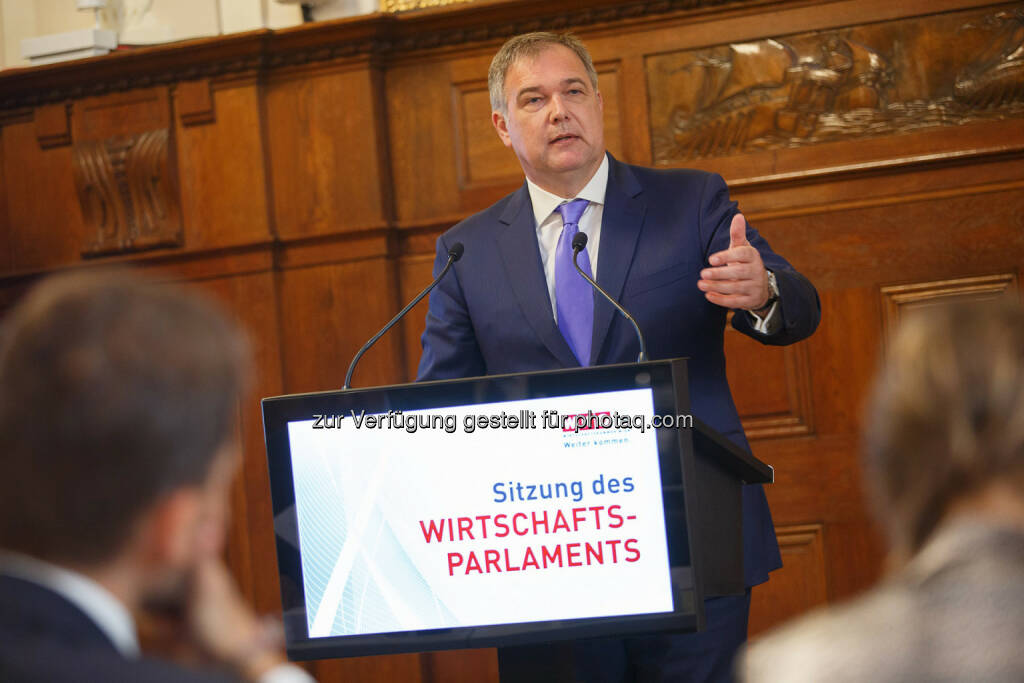 Walter Ruck, Präsident der WK Wien, im Wiener Wirtschaftsparlament: Wien unwiderstehlich machen! (Bild: Florian Wieser, WKW), © Aussendung (29.11.2016)