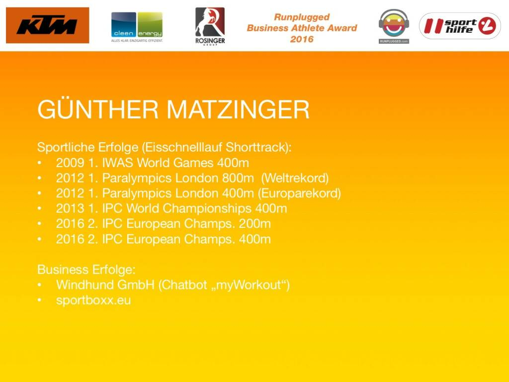 Business Athelete Award 2016 - Günther Matzinger (06.12.2016)