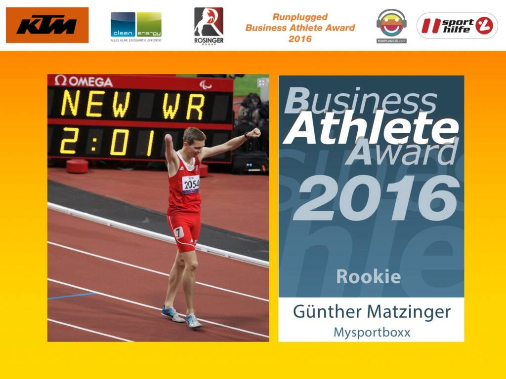 Business Athelete Award 2016 - Günther Matzinger (06.12.2016)
