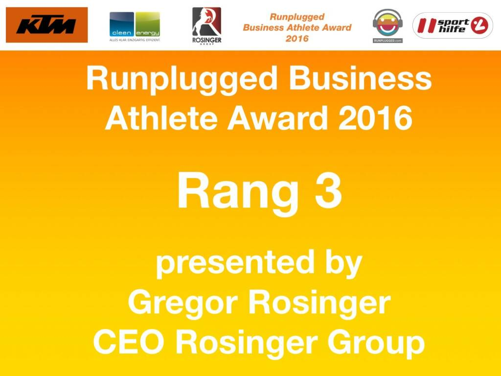 Business Athelete Award 2016 - Rang 3 presented by Rosinger Group (06.12.2016)
