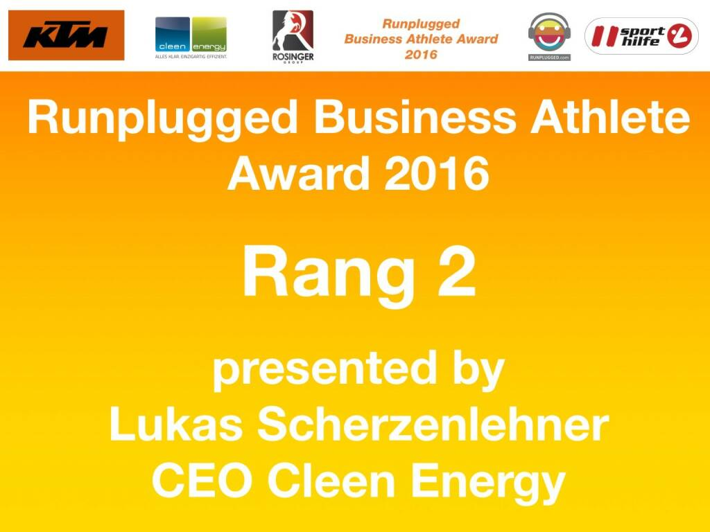 Business Athelete Award 2016 - Rang 2 presented by Cleen Energy (06.12.2016)
