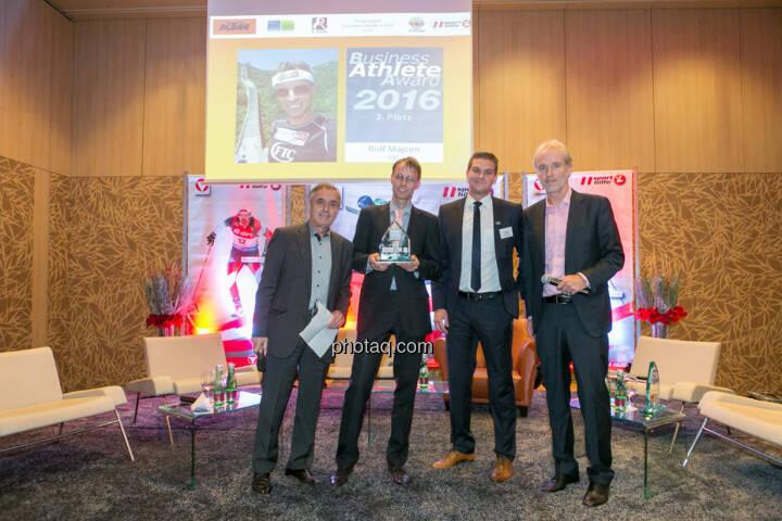 Hans Huber, Rolf Majcen (FTC, 2. Platz Business Athlete Award 2016), Lukas Scherzenlehner (Cleen Energy), Christian Drastil (BSN)
