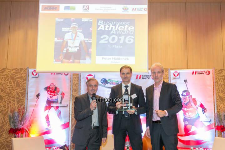 Hans Huber, Peter Haidenek (Polytec, Sieger Business Athlete Award 2016), Christian Drastil (BSN)