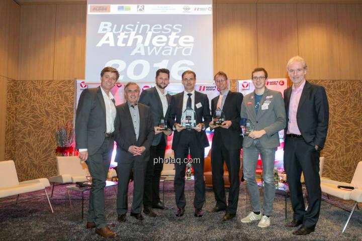 Harald Bauer (Österreichische Sporthilfe), Hans Huber, Damian Izdebski (techbold technology group, 3. Platz Business Athlete Award 2016, Peter Haidenek (Polytec, Sieger Business Athlete Award 2016), Rolf Majcen (FTC, 2. Platz Business Athlete Award 2016), Günther Matzinger (Rookie of the Year), Christian Drastil (BSN)