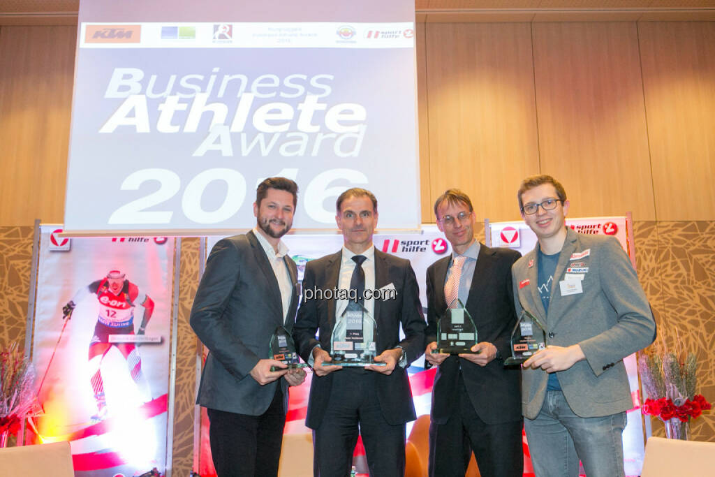 Damian Izdebski (techbold technology group, 3. Platz Business Athlete Award 2016, Peter Haidenek (Polytec, Sieger Business Athlete Award 2016), Rolf Majcen (FTC, 2. Platz Business Athlete Award 2016), Günther Matzinger (Rookie of the Year), © Martina Draper/photaq (06.12.2016)
