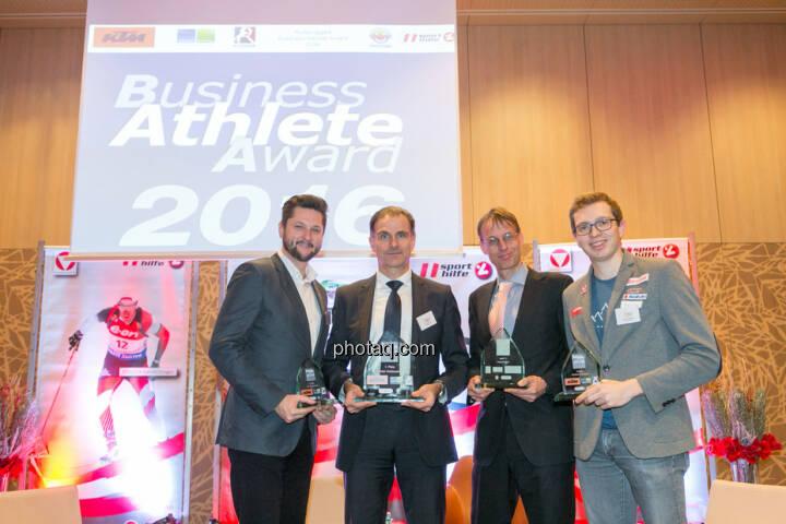 Damian Izdebski (techbold technology group, 3. Platz Business Athlete Award 2016, Peter Haidenek (Polytec, Sieger Business Athlete Award 2016), Rolf Majcen (FTC, 2. Platz Business Athlete Award 2016), Günther Matzinger (Rookie of the Year)
