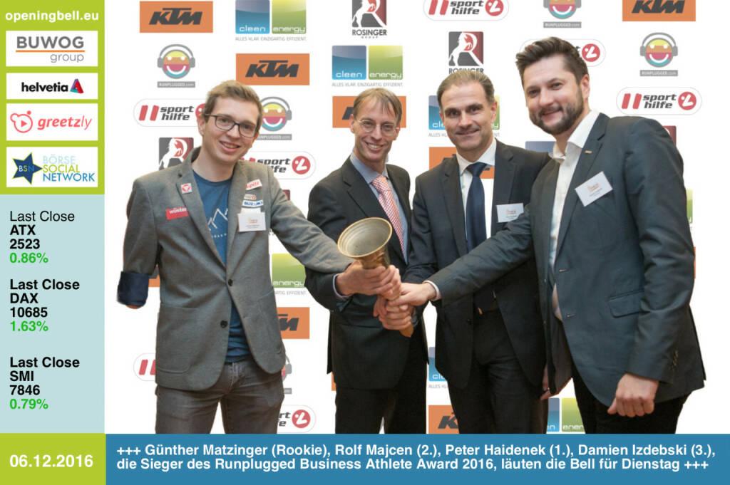 #openingbell am 6.12.: Günther Matzinger (Rookie), Rolf Majcen (2.), Peter Haidenek (1.) und Damian Izdebski (3.), die Sieger des Runplugged Business Athlete Award 2016, läuten die Bell für Dienstag http://www.runplugged.com/baa http://runplugged.com/2016/12/06/business_athlete_award_2016_peter_haidenek_siegt#bild_59130  (06.12.2016)