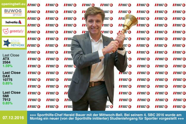 #openingbell am 7.12.: Sporthilfe-Chef Harald Bauer mit der Opening Bell für Mittwoch. Bei seinem 4. Sport & Business Circle wurde am Montag ein neuer (von der Sporthilfe initiierter) Studienlehrgang für Sportler vorgestellt. Information & Bewerbung zum Lehrgang unter http://www.fokus-zukunft.at http://www.sporthilfe.at http://www.runplugged.com/baa https://www.facebook.com/groups/Sportsblogged