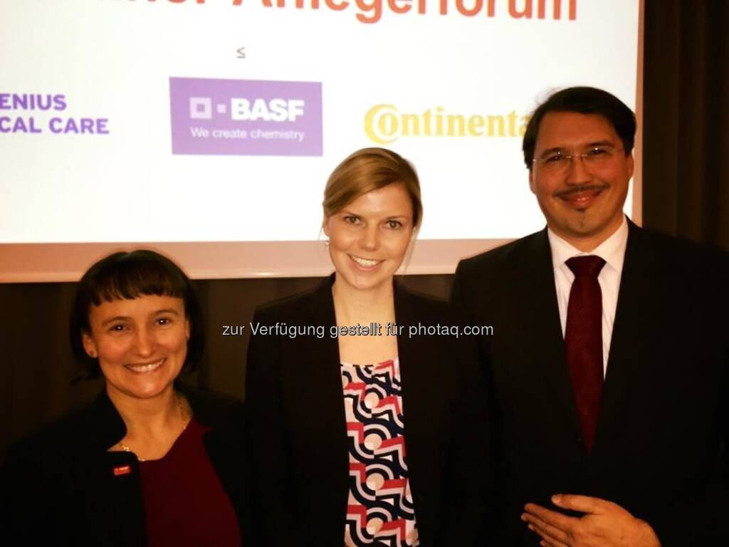 Andrea Wentscher BASF, Juliane Beckmann Fresenius Medical Care, Klaus Paesler Continental (07.12.2016)