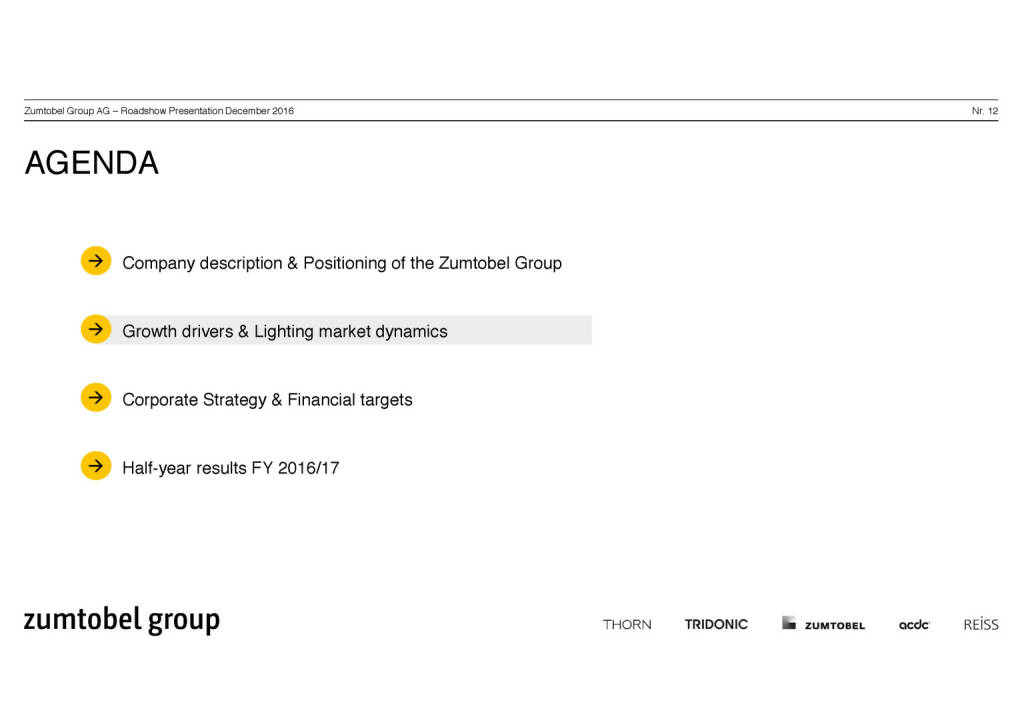 Zumtobel Group - Agenda (07.12.2016)