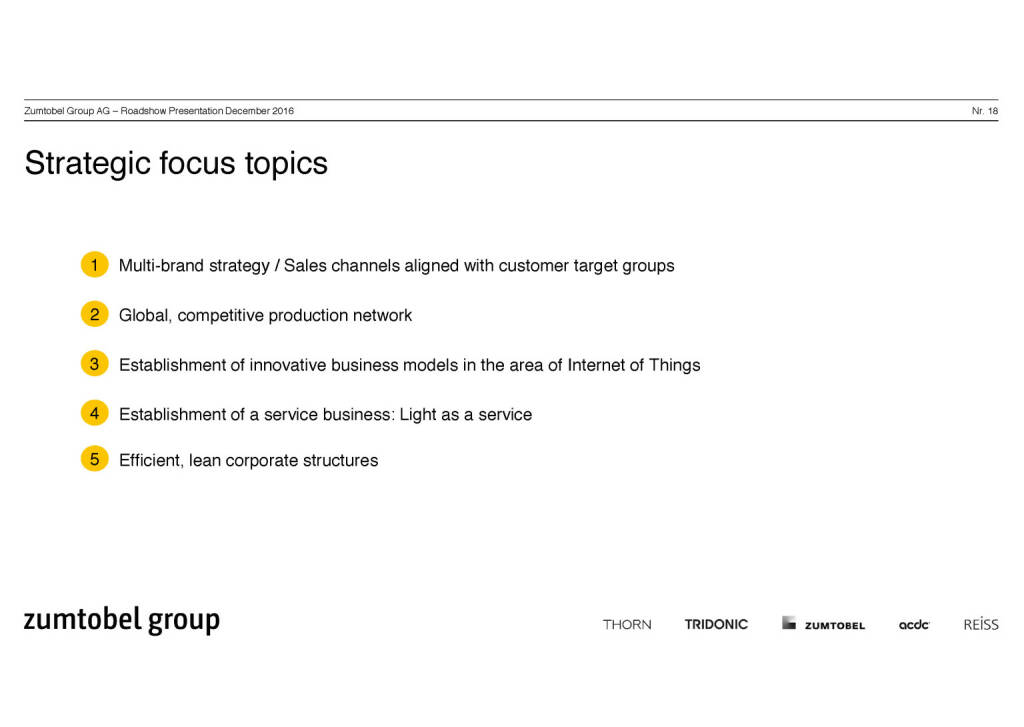 Zumtobel Group - Strategic focus topics (07.12.2016)