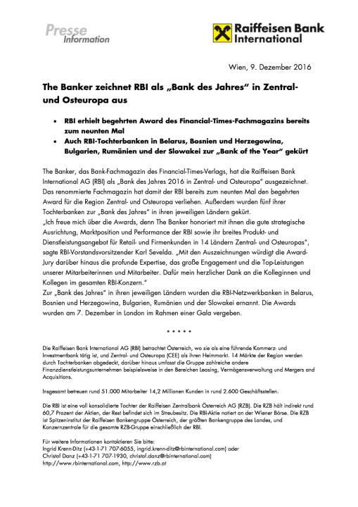 """The Banker zeichnet RBI als """"Bank des Jahres"""" in Zentral- und Osteuropa aus , Seite 1/1, komplettes Dokument unter http://boerse-social.com/static/uploads/file_2012_the_banker_zeichnet_rbi_als_bank_des_jahres_in_zentral-_und_osteuropa_aus.pdf"""