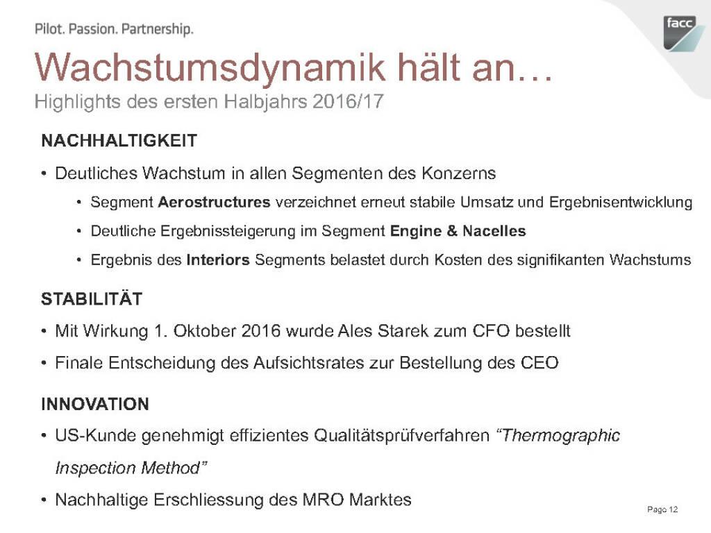 FACC Wachstumsdynamik hält an... (12.12.2016)