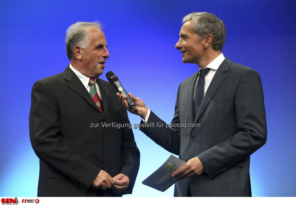 Praesident Helmuth Lexer (Steirischer Skiverband) und Moderator Rainer Pariasek, Foto: GEPA pictures/ Markus Oberlaender (08.05.2013)