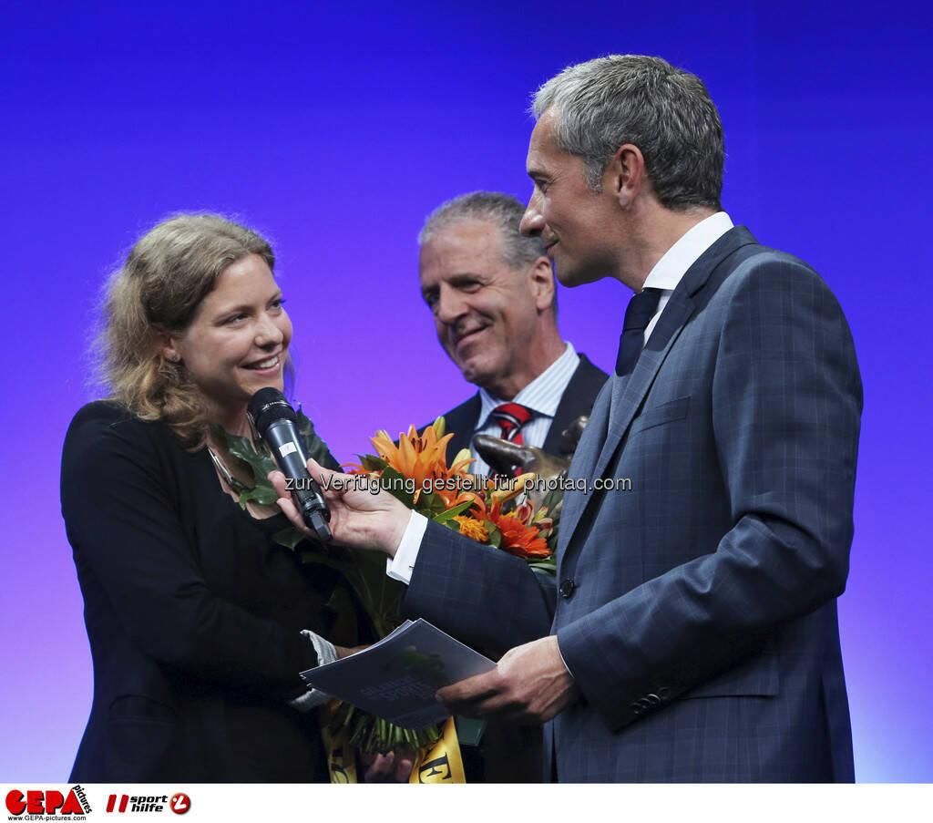 Trainerin Barbara Helbich und Moderator Rainer Pariasek, Foto: GEPA pictures/ Markus Oberlaender (08.05.2013)