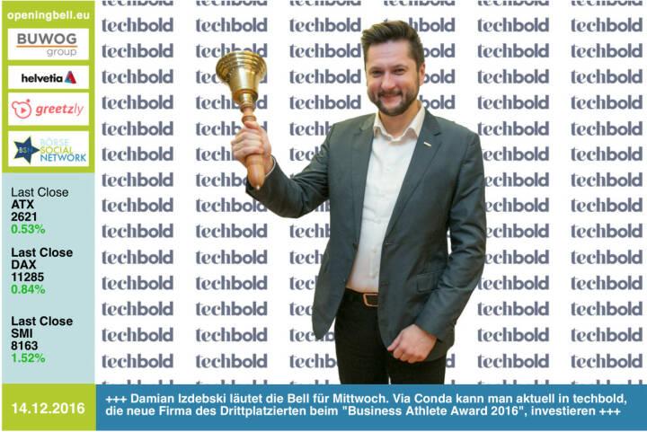 #openingbell am 14.12.: Damian Izdebski läutet die Opening Bell für Mittwoch. Via Conda kann man aktuell in techbold, die neue Firma des Drittplatzierten beim Business Athlete  Award 2016, investieren https://www.conda.at/startup/techbold/ https://www.techbold.at http://www.runplugged.com/baa