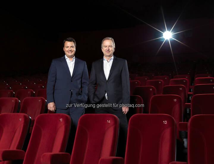 Christof Papousek, CFO und Co-Gesellschafter Cineplexx International und Christian Langhammer, geschäftsführender Gesellschafter Cineplexx - Cineplexx Kinobetriebe GmbH: Cineplexx eröffnete neue Multiplex Kinos in Serbien und im Kosovo (Fotocredit: Philipp Jelenska)