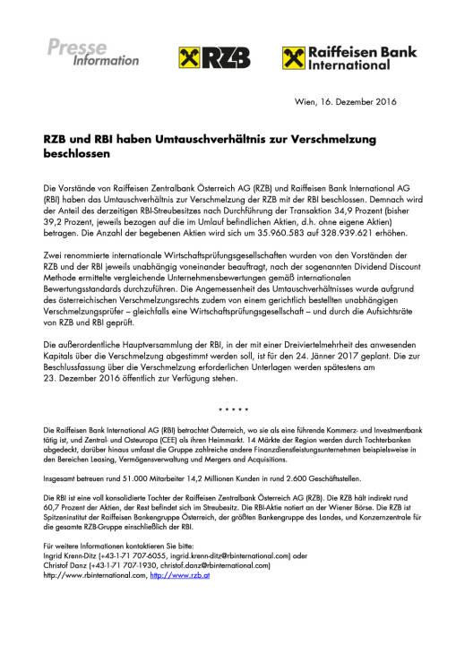 RZB und RBI haben Umtauschverhältnis zur Verschmelzung beschlossen, Seite 1/1, komplettes Dokument unter http://boerse-social.com/static/uploads/file_2027_rzb_rbi_umtauschverhaeltnis.pdf