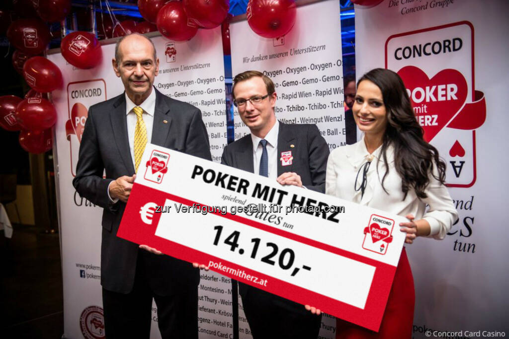 Peter Zanoni, Johnny Lütkenhorst, Henrieta Zanoni: Montesino Entertainment Group GmbH: Riesenerfolg der 1. Poker mit Herz Charity Gala (C) Concord Card Casino, © Aussender (19.12.2016)