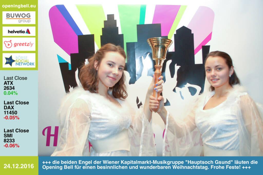 #openingbell am 24.12.: Die beiden Engel der Wiener Kapitalmarkt-Musikgruppe Hauptsoch Gsund läuten die Opening Bell für einen besinnlichen und wunderbaren Weihnachtstag. Frohe Feste! https://www.facebook.com/events/540562056143709/ https://www.facebook.com/groups/GeldanlageNetwork/  (24.12.2016)