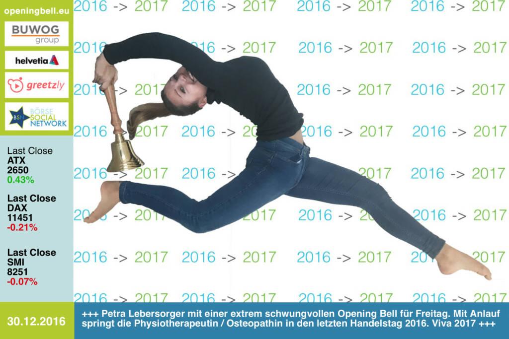 #openingbell am 30.12.: Petra Lebersorger mit einer extrem schwungvollen Opening Bell für Freitag. Mit Anlauf springt die Physiotherapeutin und Osteopathin in den letzten Handelstag 2016. Viva 2017. Ein Foto von ihr ist für den Sportschnappschuss des Jahres 2016 eingereicht. Siehe http://www.photaq.com/page/index/2910 http://www.physiotherapie-petra.at https://www.facebook.com/groups/Sportsblogged  (30.12.2016)