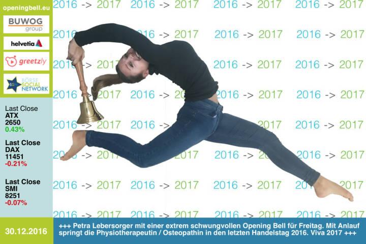 #openingbell am 30.12.: Petra Lebersorger mit einer extrem schwungvollen Opening Bell für Freitag. Mit Anlauf springt die Physiotherapeutin und Osteopathin in den letzten Handelstag 2016. Viva 2017. Ein Foto von ihr ist für den Sportschnappschuss des Jahres 2016 eingereicht. Siehe http://www.photaq.com/page/index/2910 http://www.physiotherapie-petra.at https://www.facebook.com/groups/Sportsblogged