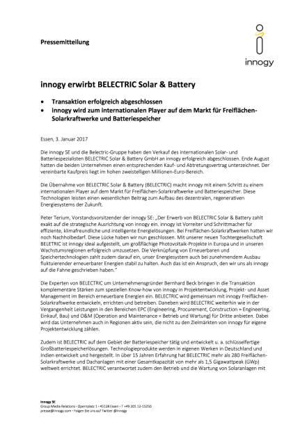 innogy erwirbt Belectric Solar & Battery, Seite 1/2, komplettes Dokument unter http://boerse-social.com/static/uploads/file_2044_innogy_erwirbt_belectric_solar_battery.pdf (03.01.2017)