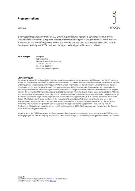 innogy erwirbt Belectric Solar & Battery, Seite 2/2, komplettes Dokument unter http://boerse-social.com/static/uploads/file_2044_innogy_erwirbt_belectric_solar_battery.pdf (03.01.2017)
