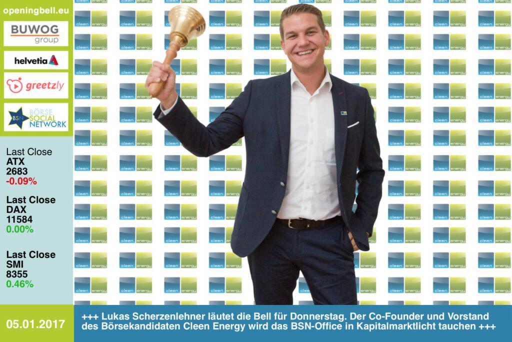 #openingbell am 5.1.: Lukas Scherzenlehner läutet die Bell für Donnerstag. Der Co-Founder und Vorstand des Börsekandidaten Cleen Energy wird das BSN-Office in Kapitalmarktlicht tauchen http://www.cleen-energy.com https://www.facebook.com/groups/GeldanlageNetwork/  (05.01.2017)