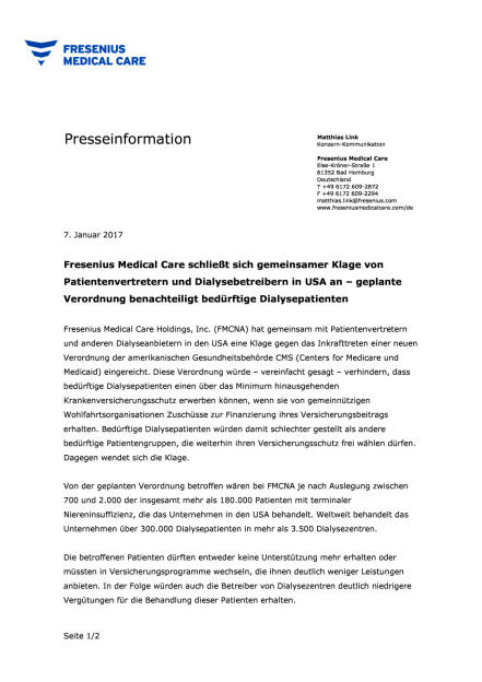Fresenius Medical Care schließt sich gemeinsamer Klage in USA an, Seite 1/2, komplettes Dokument unter http://boerse-social.com/static/uploads/file_2045_fresenius_medical_care_schliesst_sich_gemeinsamer_klage_in_usa_an.pdf (07.01.2017)