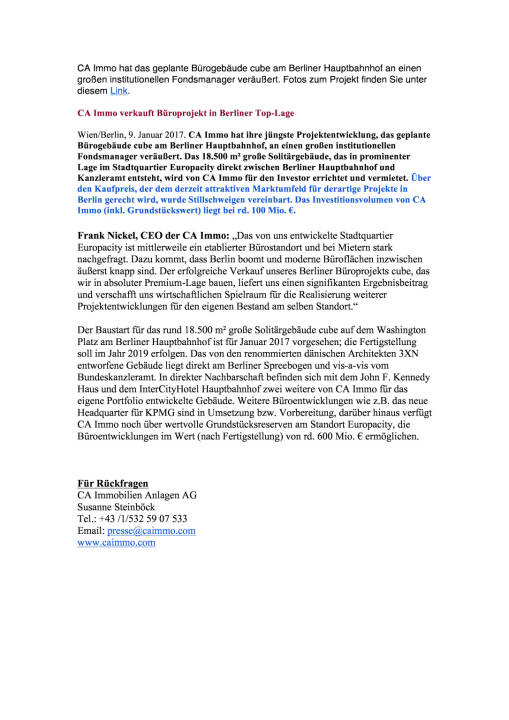 CA Immo verkauft Büroprojekt in Berliner Top-Lage, Seite 1/1, komplettes Dokument unter http://boerse-social.com/static/uploads/file_2047_ca_immo_verkauft_buroprojekt_in_berliner_top-lage.pdf