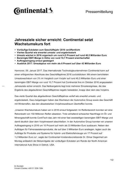 Continental: Vorläufige Eckdaten zum Geschäftsjahr 2016, Seite 1/2, komplettes Dokument unter http://boerse-social.com/static/uploads/file_2046_continental_vorlaufige_eckdaten_zum_geschaftsjahr_2016.pdf