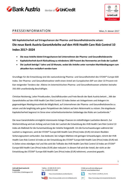 Die neue Bank Austria GarantAnleihe auf den HVB Health Care Risk Control 10, Seite 1/3, komplettes Dokument unter http://boerse-social.com/static/uploads/file_2048_die_neue_bank_austria_garantanleihe_auf_den_hvb_health_care_risk_control_10.pdf